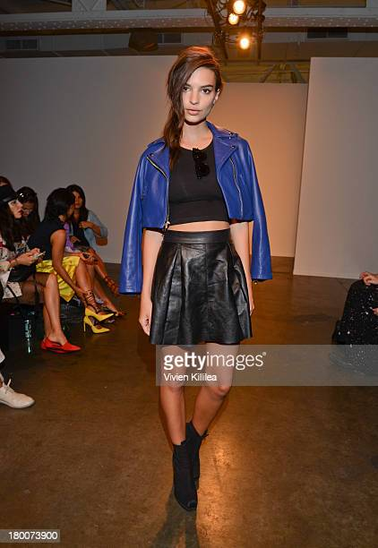 Model Emily Ratajkowski attends Jeremy Laing Front Row MercedesBenz Fashion Week Spring 2014 on September 8 2013 in New York City