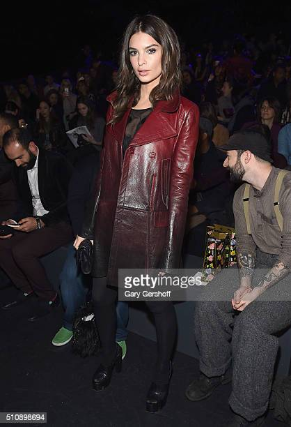Model Emily Ratajkowski attends the Anna Sui fashion show during New York Fashion Week Fall 2016 at The Arc Skylight at Moynihan Station on February...