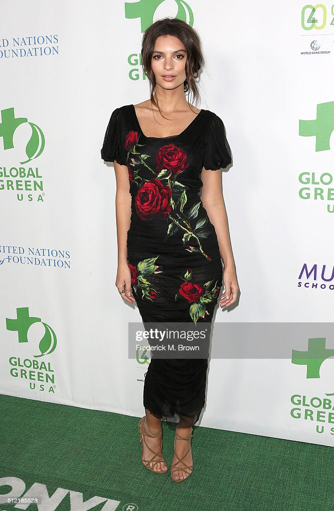 Model Emily Ratajkowski attends the Global Green USA's 13th Annual PreOscar Party at the Mr C Beverly Hills Hotel on February 24 2016 in Beverly...