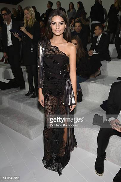 Model Emily Ratajkowski attends the Marc Jacobs Fall 2016 fashion show during New York Fashion Week at Park Avenue Armory on February 18 2016 in New...