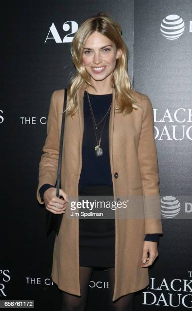 Model Emily Senko attends 'The Blackcoat's Daughter' screening hosted by A24 and DirecTV with The Cinema Society at Landmark's Sunshine Cinema on...