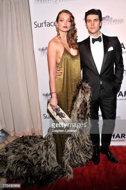 Model Eniko Mihalik and professional dancer Roberto Bolle attends the 4th Annual amfAR Inspiration Gala New York at The Plaza Hotel on June 13 2013...