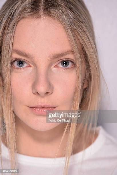 A model Eniko Mihalik is seen backstage ahead of the Philosophy Di Lorenzo Serafini show during the Milan Fashion Week Autumn/Winter 2015 on February...