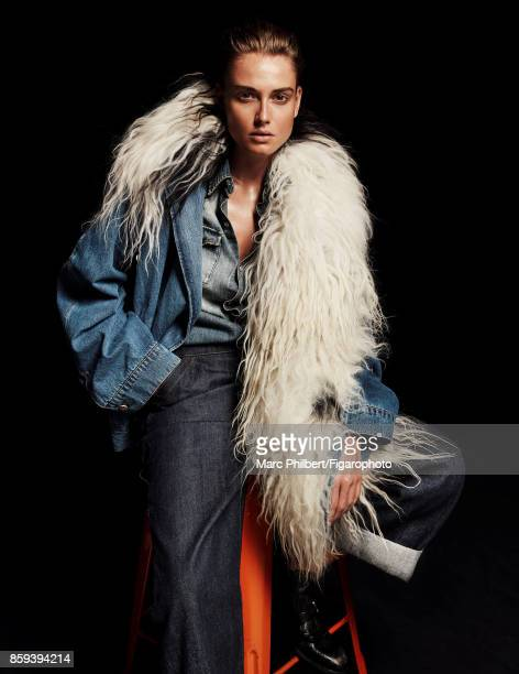 Model poses at a fashion shoot for Madame Figaro on July 21 2017 in Paris France Jacket shirt pants boots PUBLISHED IMAGE CREDIT MUST READ Marc...