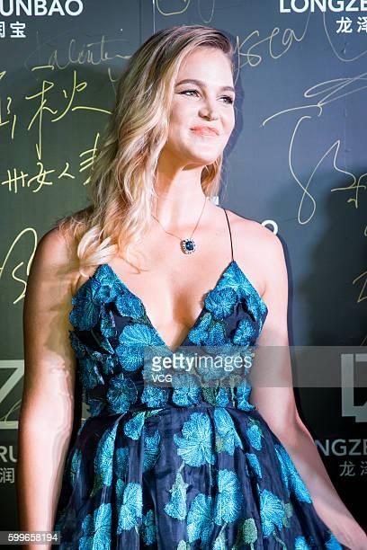 Model Erin Heatherton attends Longzerunbao Jewelry store opening ceremony on September 5 2016 in Zhengzhou China