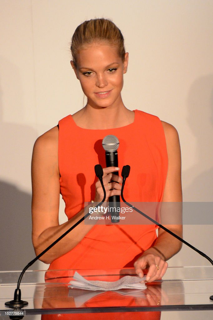 Model Erin Heatherton speaks onstage at the United Nations Every Woman Every Child Dinner 2012 on September 25, 2012 in New York, United States.