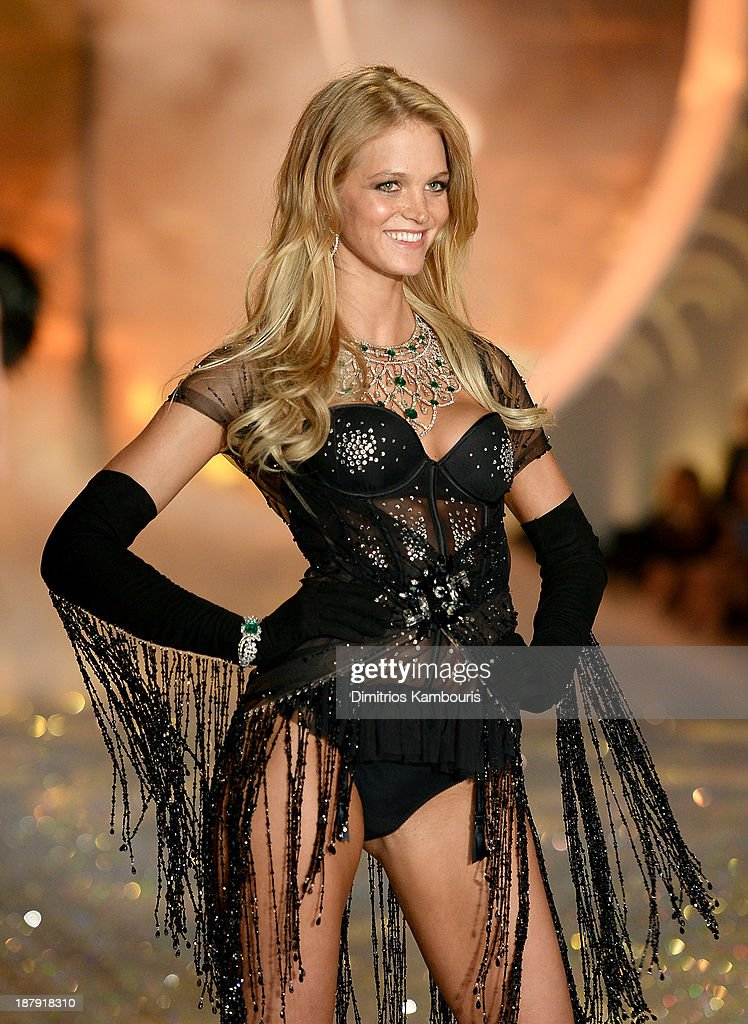 Model Erin Heatherton walks the runway at the 2013 Victoria's Secret Fashion Show at Lexington Avenue Armory on November 13, 2013 in New York City.