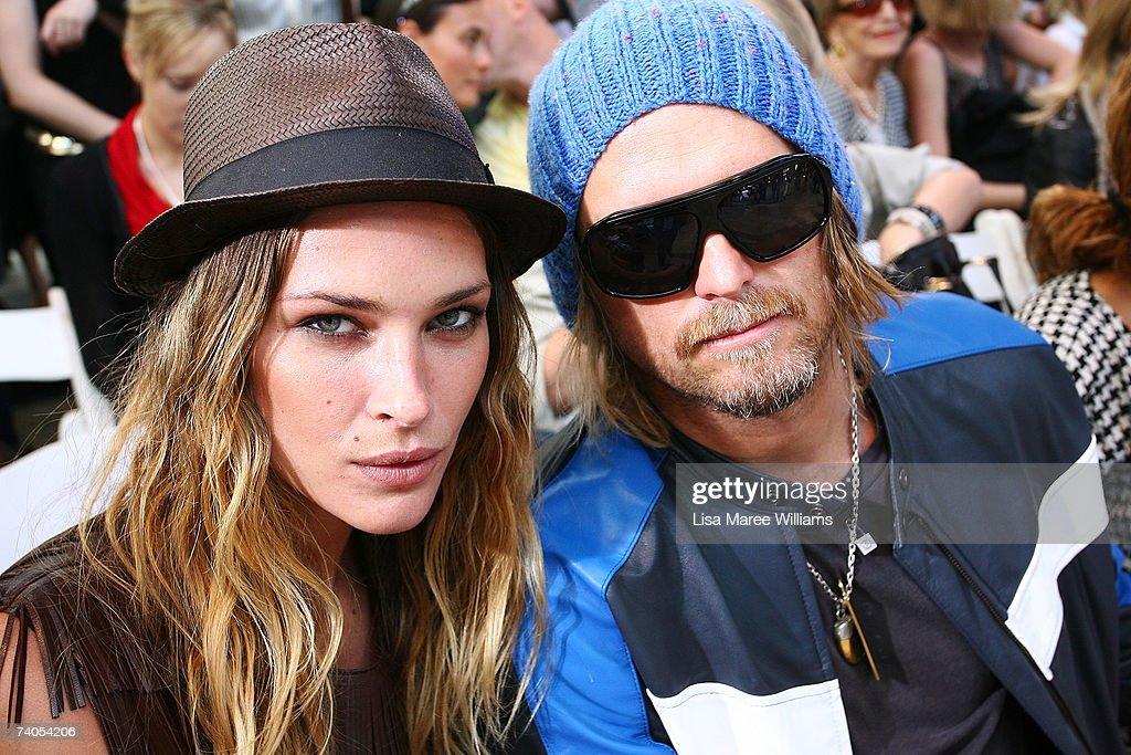 Model Erin Wasson and Ksubi designer George Gorrow attend the Josh Goot catwalk on day four of Rosemount Australian Fashion Week Spring/Summer...