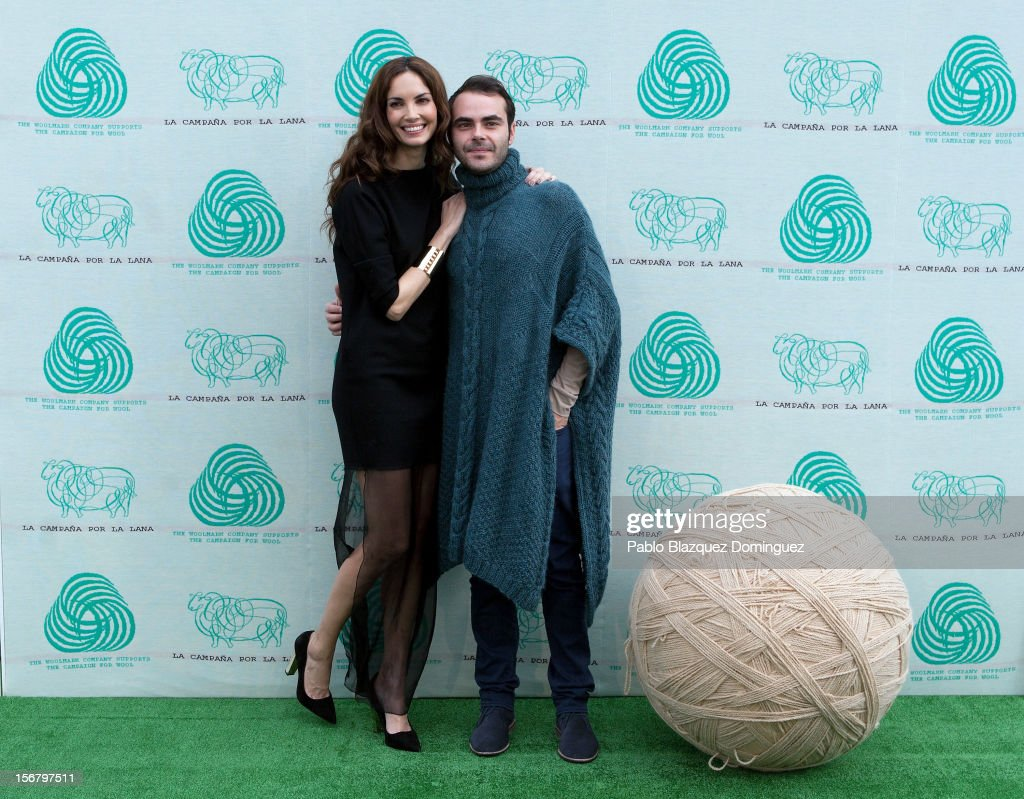 Model Eugenia Silva (L) and Designer Ion Fiz inaugurate Wool Week 2012 at Colon Square on November 21, 2012 in Madrid, Spain.