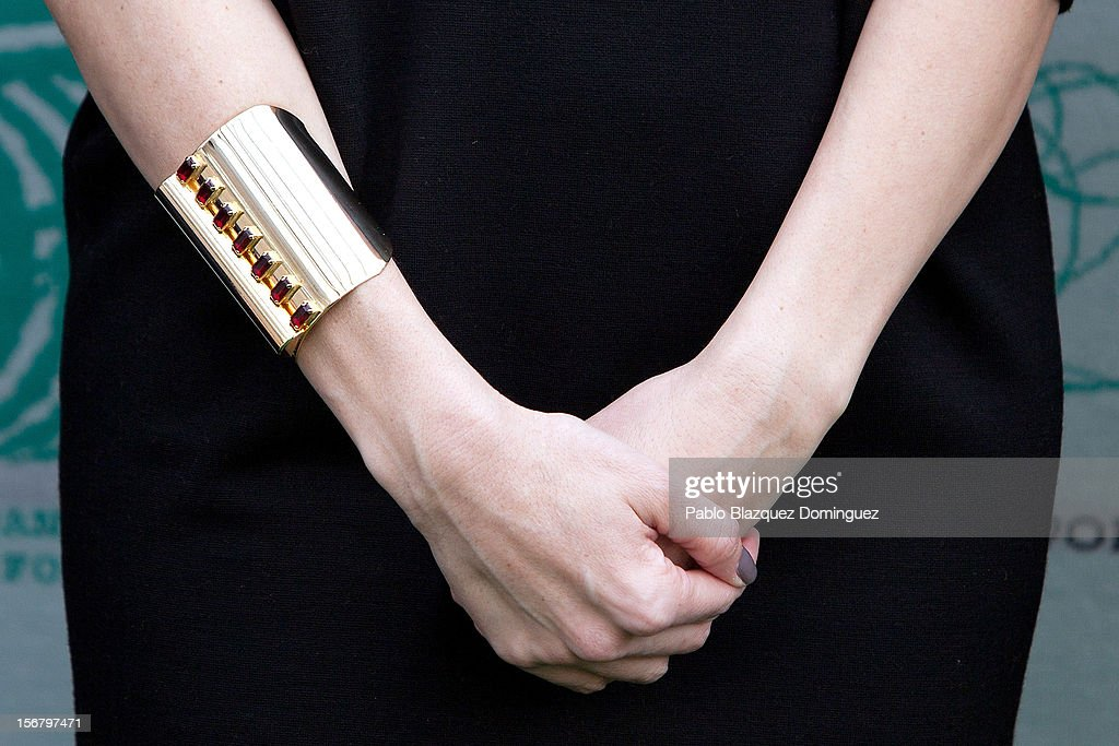 Model Eugenia Silva (bracelet detail) inaugurates Wool Week 2012 at Colon Square on November 21, 2012 in Madrid, Spain.