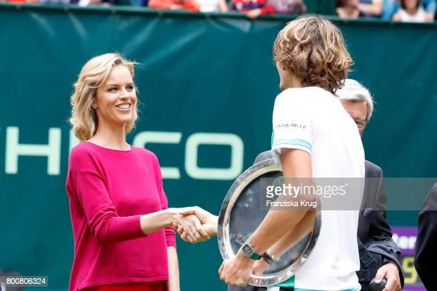 Model Eva Herzigova and tennis player Alexander Zverev attend the Gerry Weber Open 2017 at Gerry Weber Stadium on June 25 2017 in Halle Germany