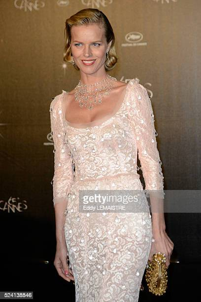 Model Eva Herzigova arrives at the Opening Dinner held at the Agora Pavilion after the opening ceremony of the 65th Cannes Film Festival