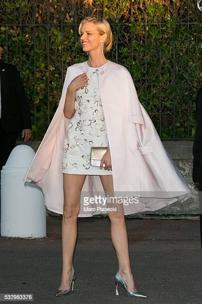 Model Eva Herzigova arrives to attend the 'AMFAR' dinner during the annual 69th Cannes Film Festival on May 19 2016 in Antibes France