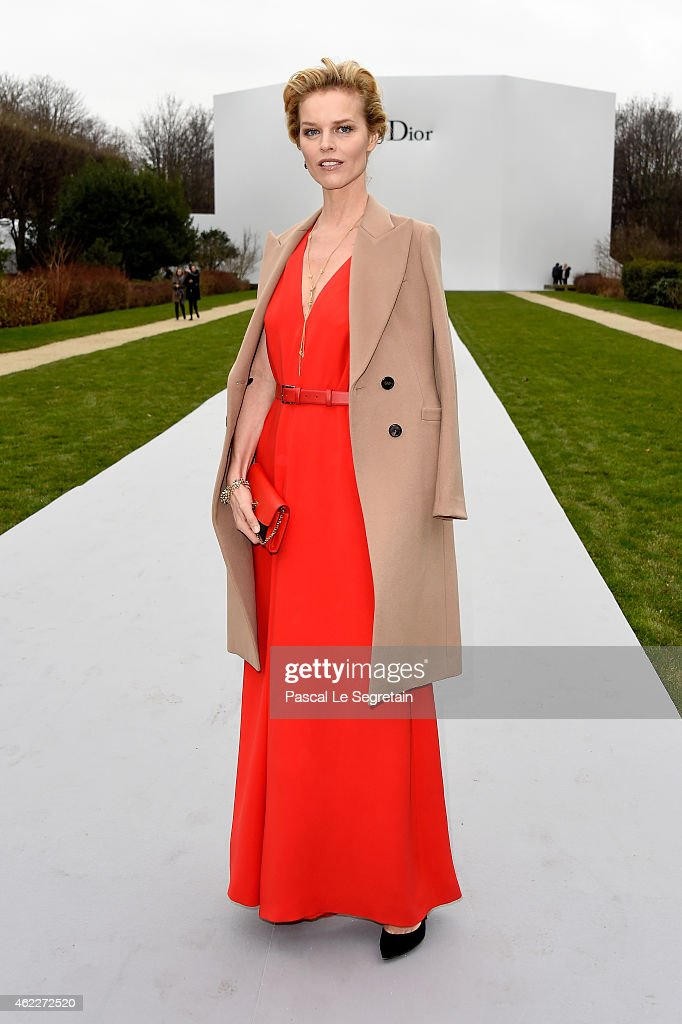 Model Eva Herzigova attends the Christian Dior show as part of Paris Fashion Week Haute Couture Spring/Summer 2015 on January 26, 2015 in Paris, France.