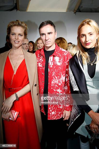 Model Eva Herzigova Fashion Designer Raf Simons and Elizabeth Von Thurn und Taxis pose backstage after Christian Dior show as part of Paris Fashion...