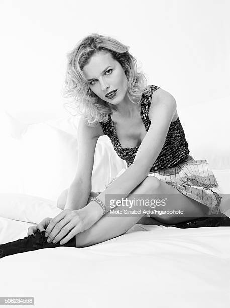 Model Eva Herzigova is photographed for Madame Figaro on November 9 2015 in Tokyo Japan Top skirt and boots My Dior bracelet Beauty by Dior PUBLISHED...