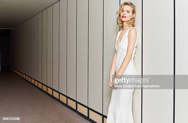 Model Eva Herzigova is photographed for Madame Figaro on November 9 2015 in Tokyo Japan Dress and Dior Shades earrings My Dior bracelet Beauty by...