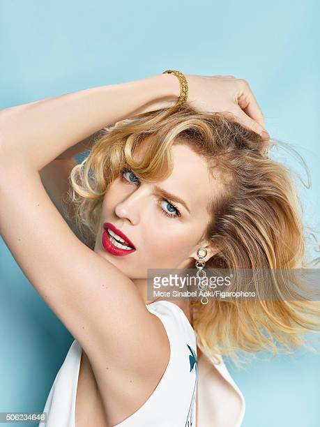 Model Eva Herzigova is photographed for Madame Figaro on November 9 2015 in Tokyo Japan Dress and Dior Shades earring My Dior bracelet Beauty by Dior...