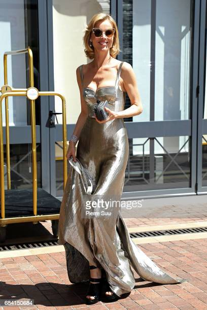 Model Eva Herzigova is spotted at the 'Majestic' hotel during the 70th annual Cannes Film Festival at on May 17 2017 in Cannes France