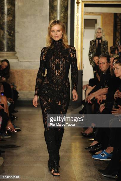 Model Eva Herzigova walks the runway at the Emilio Pucci Show as part of Milan Fashion Week Womenswear Autumn/Winter 2014 on February 22 2014 in...