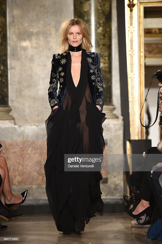 A model Eva Herzigova walks the runway at the Emilio Pucci show during the Milan Fashion Week Fall/Winter 2015 on February 28 2015 in Milan Italy