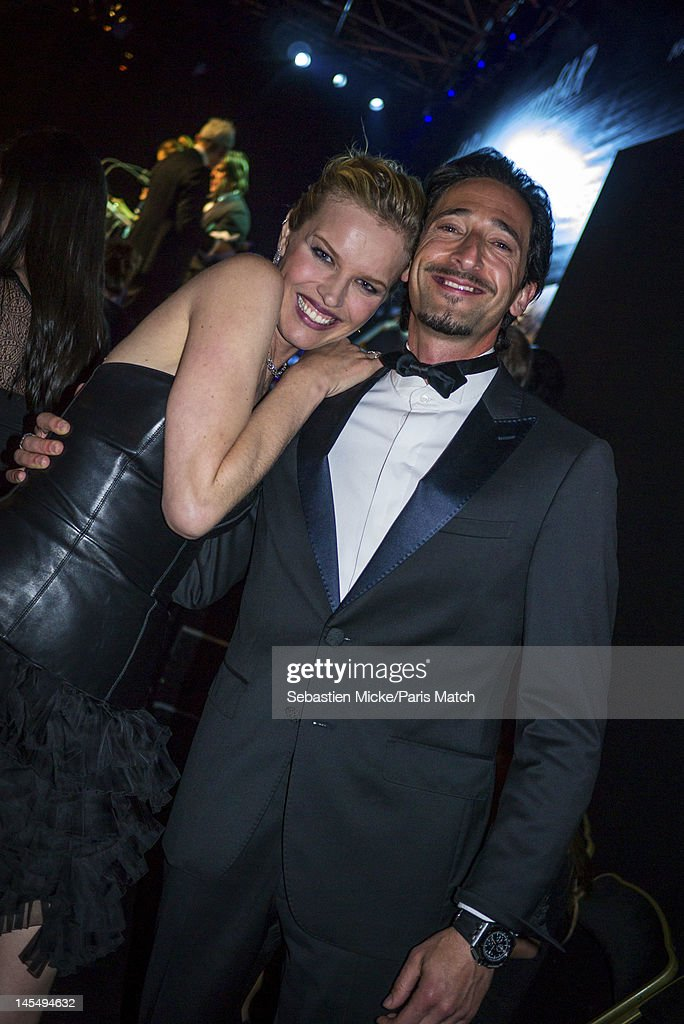 Model Eva Herzigova with actor Adrien Brody, photographed at the amfAR Cinema Against AIDS gala, for Paris Match on May 24, 2012, in Cap d'Antibes, France.