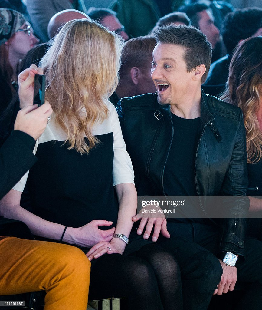 Model Eva Riccobono and actor Jeremy Renner attend Diesel Black Gold during the Pitti Immagine Uomo 85 on January 8, 2014 in Florence, Italy.