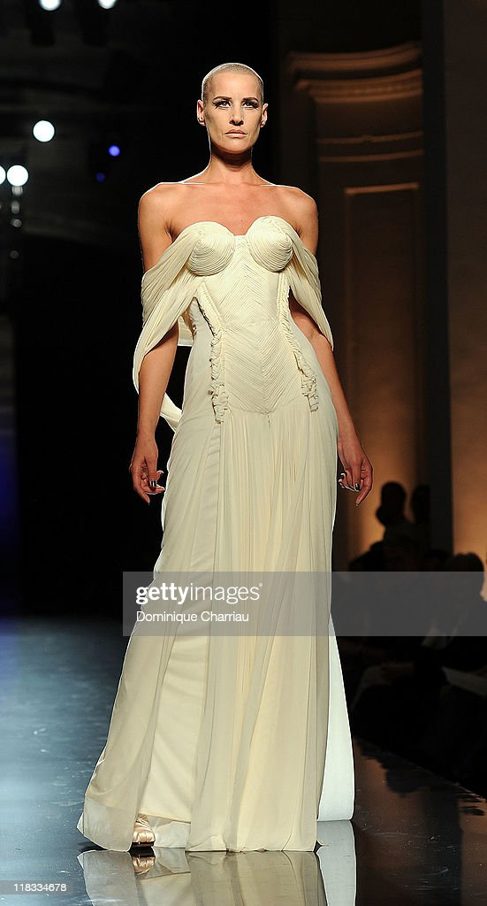 Model Eve Savail walks the runway during the Jean Paul Gaultier Haute Couture Fall/Winter 2011/2012 show as part of Paris Fashion Week on July 6, 2011 in Paris, France.