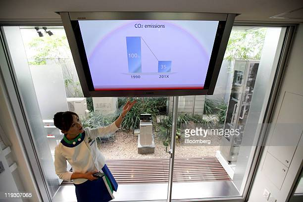 A model explains a household lithiumion battery displayed outside Panasonic Corp's 'eco ideas House' a model home to propose a lifestyle with...