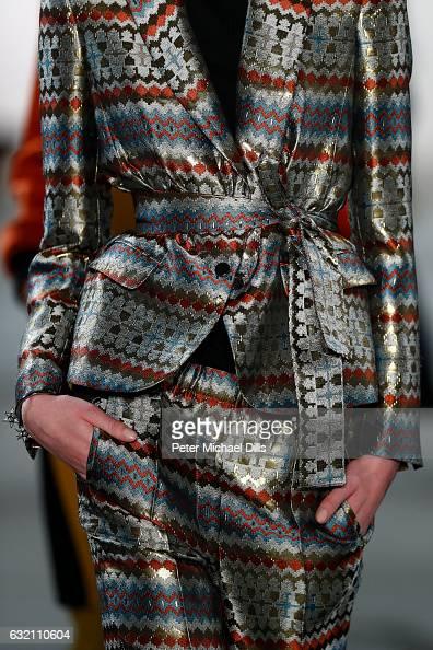 A model fabric detail walks the runway at the Dawid Tomaszewski X Patrizia Aryton show during the MercedesBenz Fashion Week Berlin A/W 2017 at...