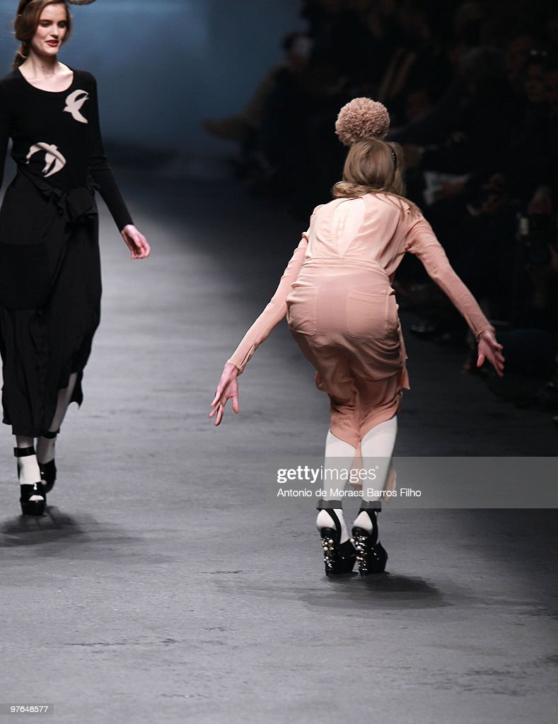 A model falls on the runway during the Sonia Rykiel Ready to Wear show as part of the Paris Womenswear Fashion Week Fall/Winter 2011 at Halle Freyssinet on March 7, 2010 in Paris, France.