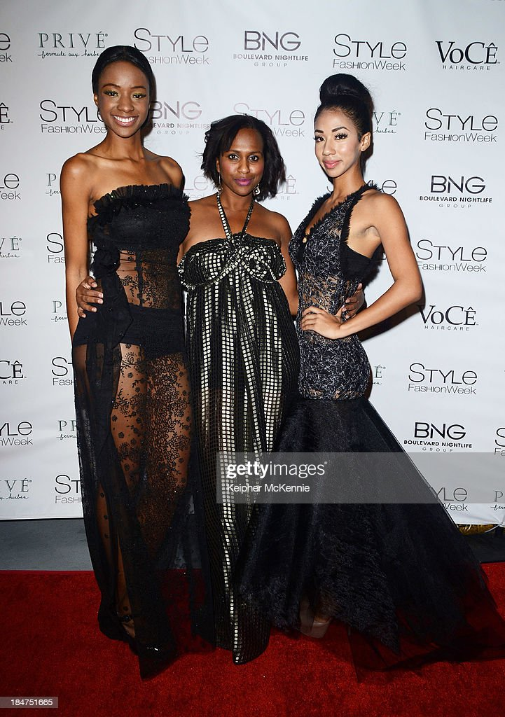 Model Fancy Ocholonu, Designer of 'Jn Marie' Lisa Jn Marie, and model DeMarie arrive to Day By Day Clothing Spring 2014 Collection Fashion Show at L.A. Live Event Deck on October 15, 2013 in Los Angeles, California.