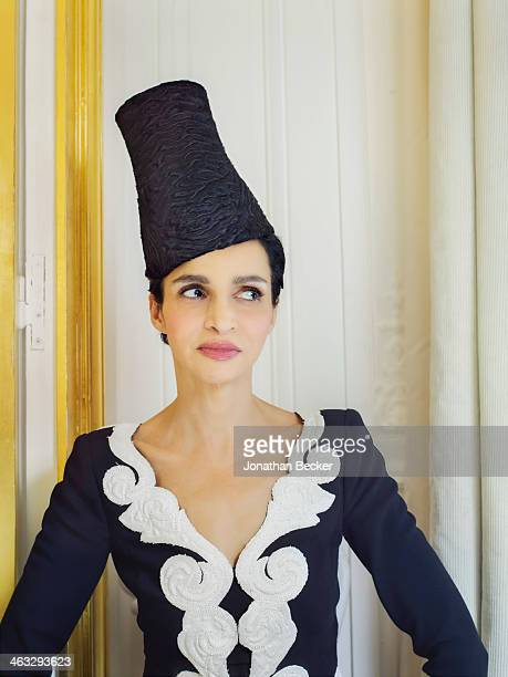 Model Farida Khelfa is photographed for Town Country Magazine on July 5 2013 in Paris France Photographed in a oneofakind Schiaparelli hat from a...