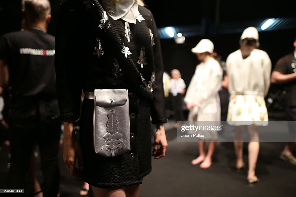 A model, fashion detail, is seen backstage ahead of the Steinrohner show during the Mercedes-Benz Fashion Week Berlin Spring/Summer 2017 at Erika Hess Eisstadion on June 28, 2016 in Berlin, Germany.