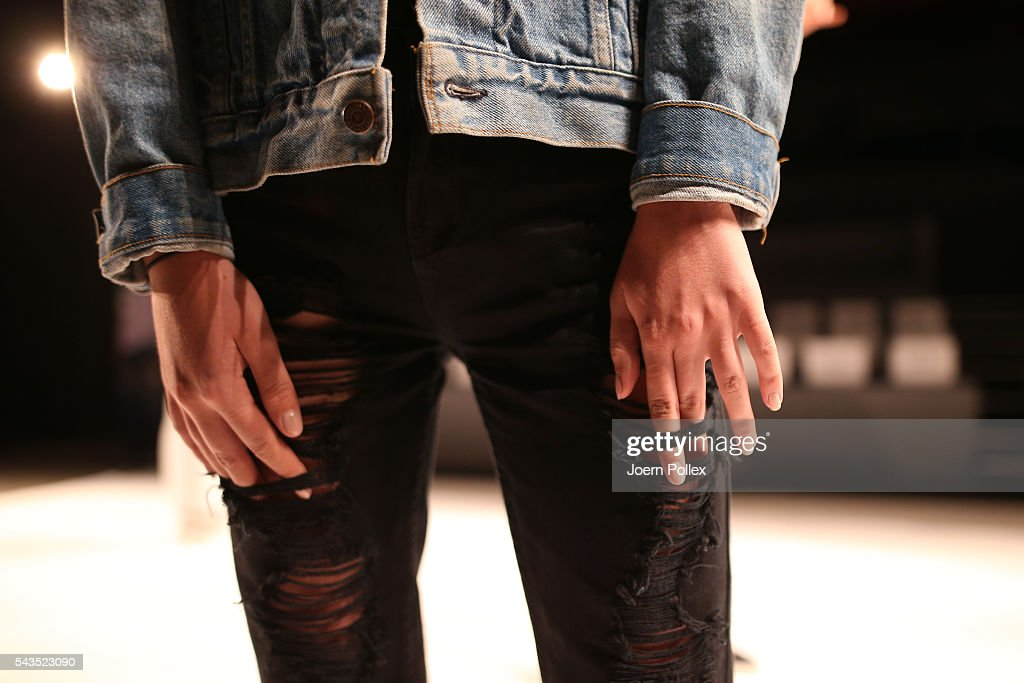 A model (detail) is seen backstage ahead of the Sportalm show during the Mercedes-Benz Fashion Week Berlin Spring/Summer 2017 at Erika Hess Eisstadion on June 29, 2016 in Berlin, Germany.