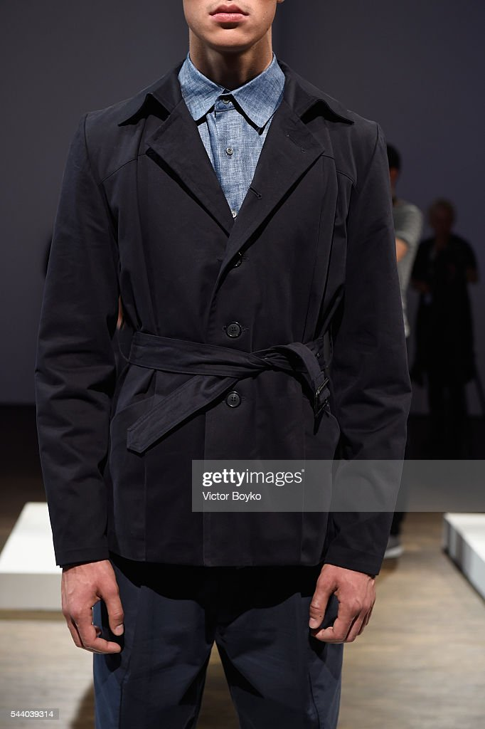 A model, fashion detail, poses at the Brachmann show during the Mercedes-Benz Fashion Week Berlin Spring/Summer 2017 at Stage at me Collectors Room on July 1, 2016 in Berlin, Germany.