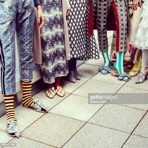 A model fashion detail poses at the Dawid Tomaszewski Defile during 'Der Berliner Mode Salon' Spring/Summer 2018 at Kronprinzengaerten on July 5 2017...