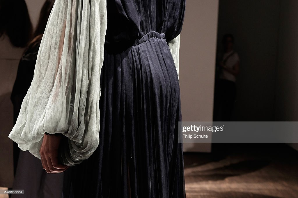 A model, fashion detail, poses at the Dime-Mexico Fashion Design show during the Mercedes-Benz Fashion Week Berlin Spring/Summer 2017 at Stage at me Collectors Room on June 29, 2016 in Berlin, Germany.