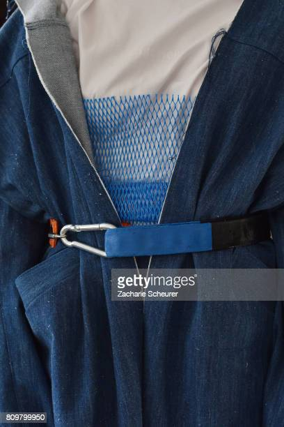 A model fashion detail poses at the Last Hiers show during the MercedesBenz Fashion Week Berlin Spring/Summer 2018 at Rosenthal Studios on July 6...