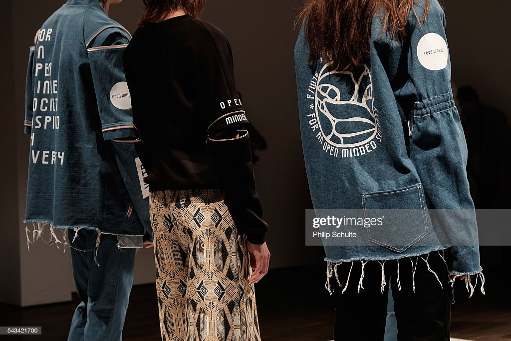 A model, fashion detail, poses at the Vektor show during the Mercedes-Benz Fashion Week Berlin Spring/Summer 2017 at Stage at me Collectors Room on June 28, 2016 in Berlin, Germany.