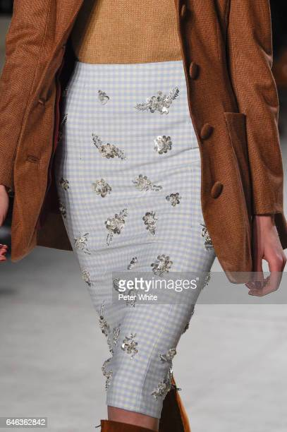 A model fashion detail walks the runway at Brock Collection Show during New York Fashion Week Fall Winter 20172018 at Gallery 2 Skylight Clarkson Sq...