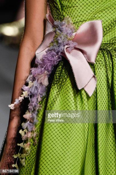 A model fashion detail walks the runway at Marchesa Spring 2018 during New York Fashion Week at Gallery 1 Skylight Clarkson Sq on September 13 2017...