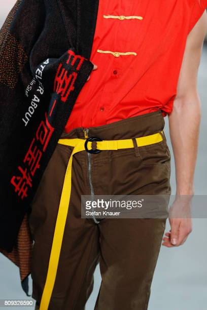 A model fashion detail walks the runway at the Atelier About show during the MercedesBenz Fashion Week Berlin Spring/Summer 2018 at Kaufhaus Jandorf...
