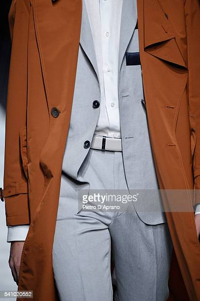 A model fashion detail walks the runway at the Canali show during Milan Men's Fashion Week Spring/Summer 2017 on June 18 2016 in Milan Italy