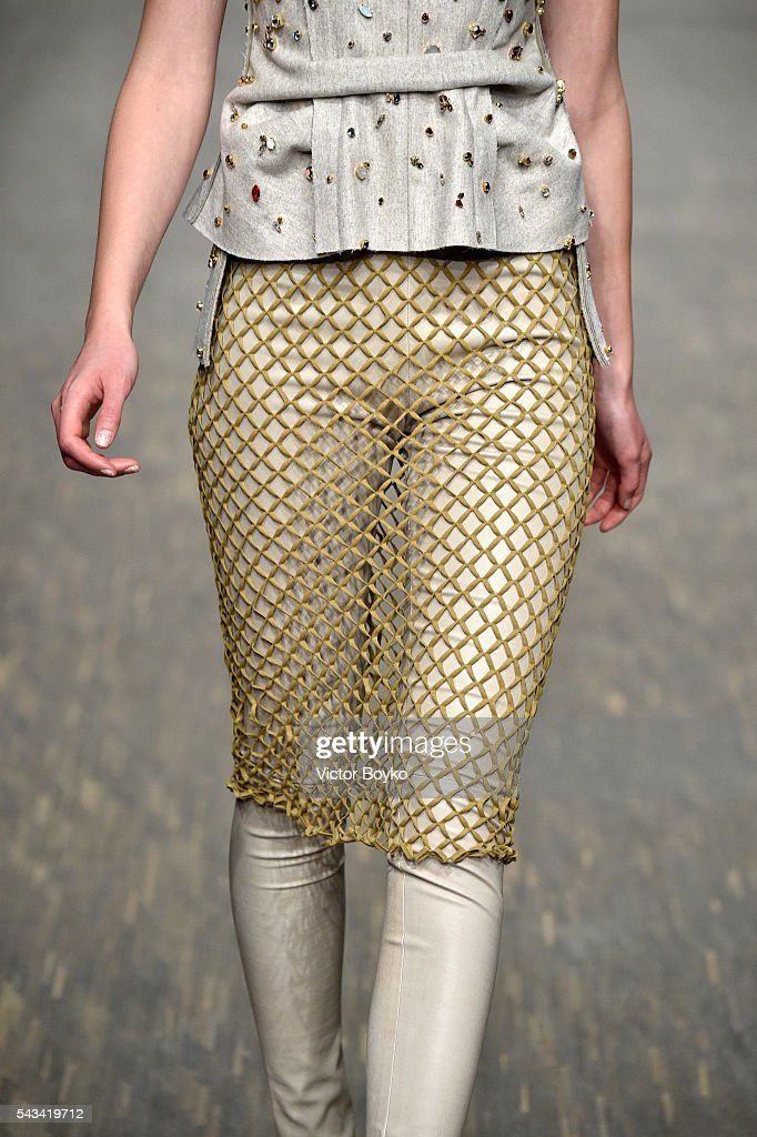 A model, fashion detail, walks the runway at the Dawid Tomaszewski show during the Mercedes-Benz Fashion Week Berlin Spring/Summer 2017 at Stage at me Collectors Room on June 28, 2016 in Berlin, Germany.