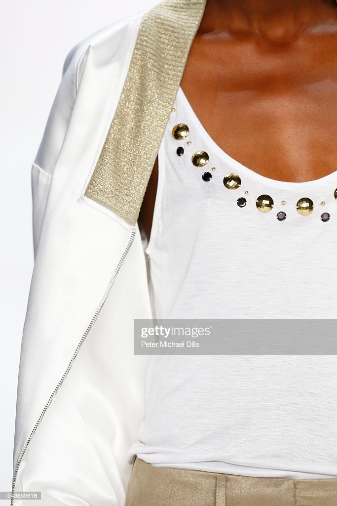 A model, fashion detail, walks the runway at the Dimitri show during the Mercedes-Benz Fashion Week Berlin Spring/Summer 2017 at Erika Hess Eisstadion on June 30, 2016 in Berlin, Germany.
