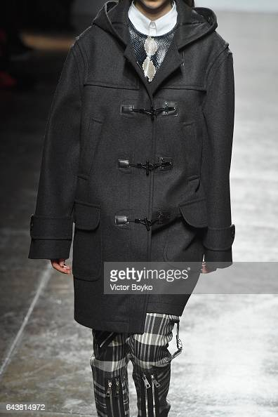A model fashion detail walks the runway at the Fay show during Milan Fashion Week Fall/Winter 2017/18 on February 22 2017 in Milan Italy