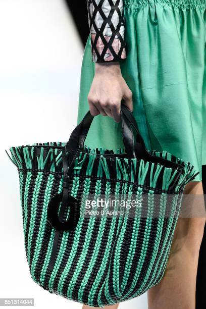 A model fashion detail walks the runway at the Giorgio Armani show during Milan Fashion Week Spring/Summer 2018 on September 22 2017 in Milan Italy