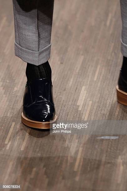 A model fashion detail walks the runway at the Holy Ghost show during the MercedesBenz Fashion Week Berlin Autumn/Winter 2016 at Stage at me...