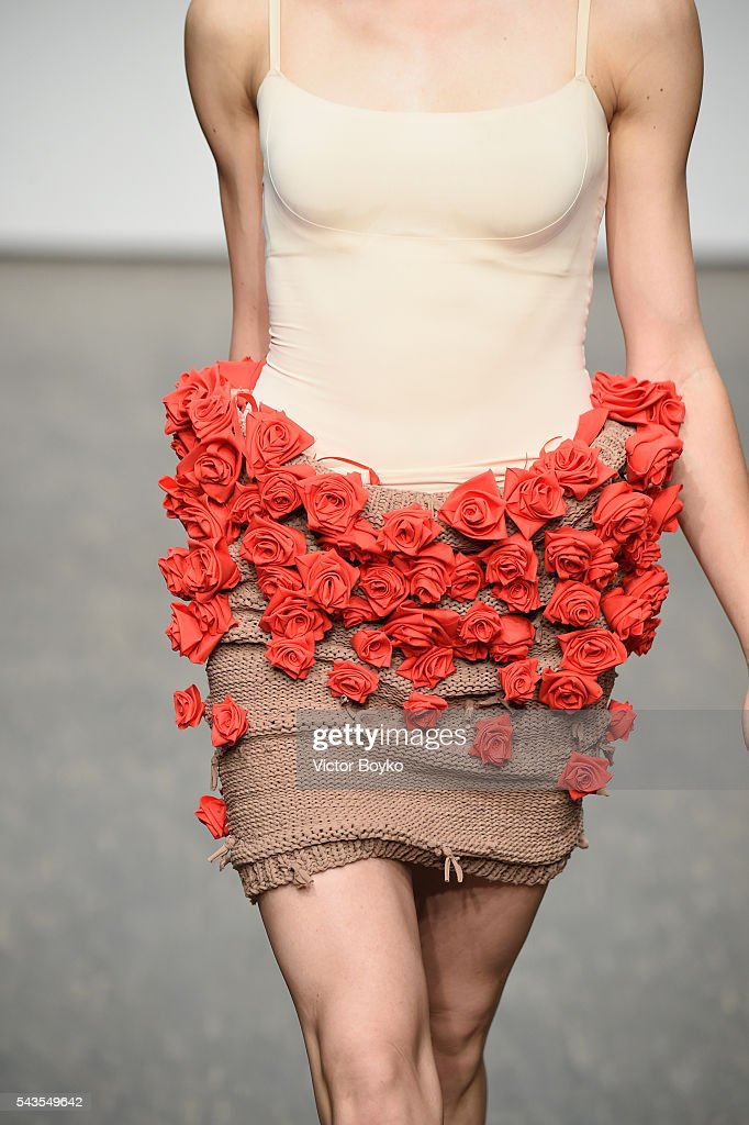 A model, fashion detail, walks the runway at the I'Vr Isabel Vollrath show during the Mercedes-Benz Fashion Week Berlin Spring/Summer 2017 at Stage at me Collectors Room on June 29, 2016 in Berlin, Germany.